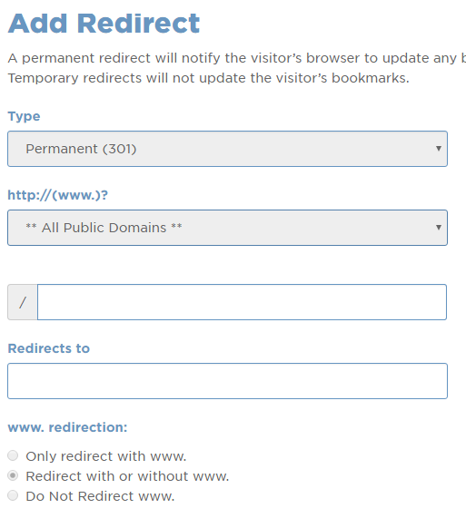cpanel add redirect