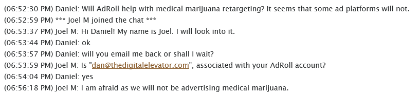 Cannabis Marketing AdRoll conversation