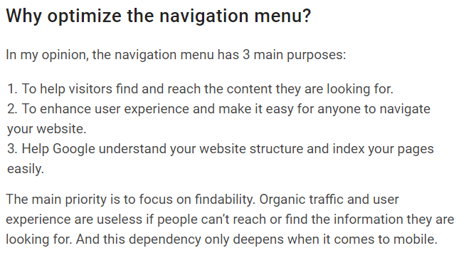 optimizing the navigation menu for SaaS