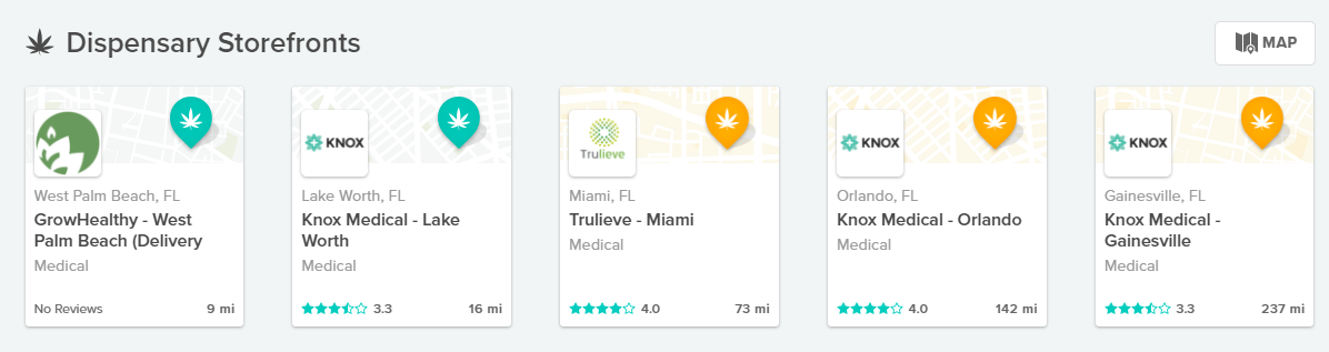 Dispensary listings on WeedMaps