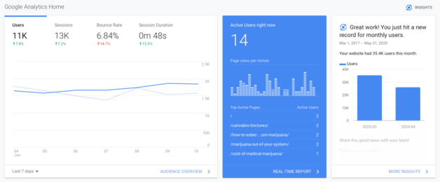 Google Analytics Dahboard